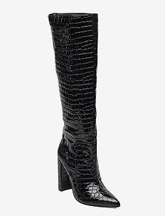 Tamsin - lange laarzen - black croco