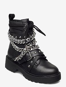 Temina - platte enkellaarsjes - black leather