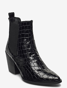 Patricia - flate ankelstøvletter - black croco