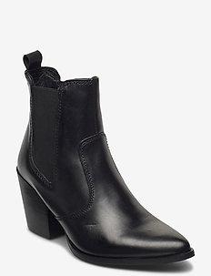Patricia - flate ankelstøvletter - black leather