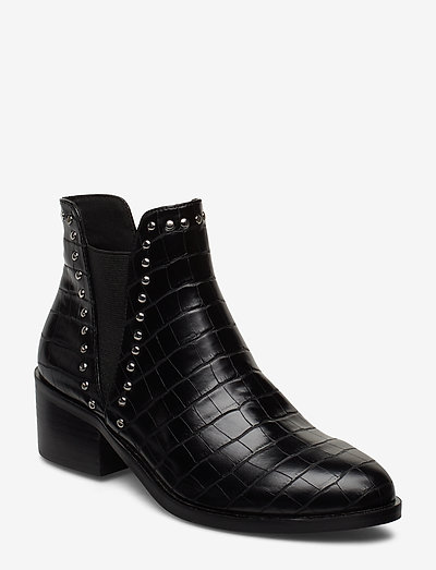 Cade Bootie - ankelboots med klack - black croco