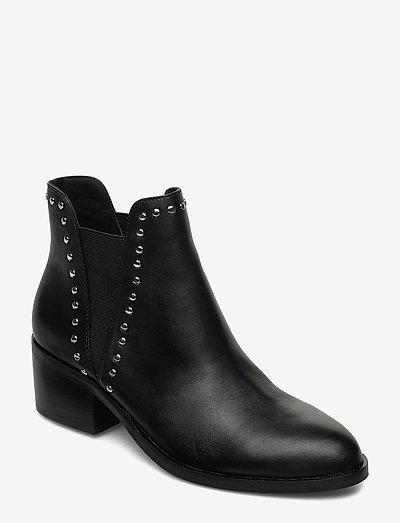 Cade Bootie - ankelboots med klack - black leather