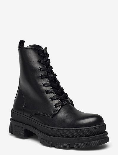 Filiz Bootie - platta ankelboots - black leather