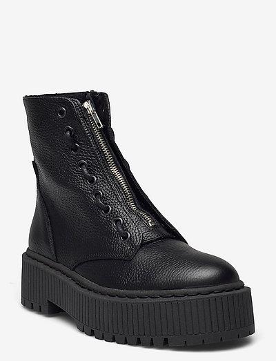 Odyl Bootie - platta ankelboots - black leather