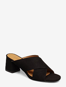 Jasmin Suede slip on sandal - 99 BLACK