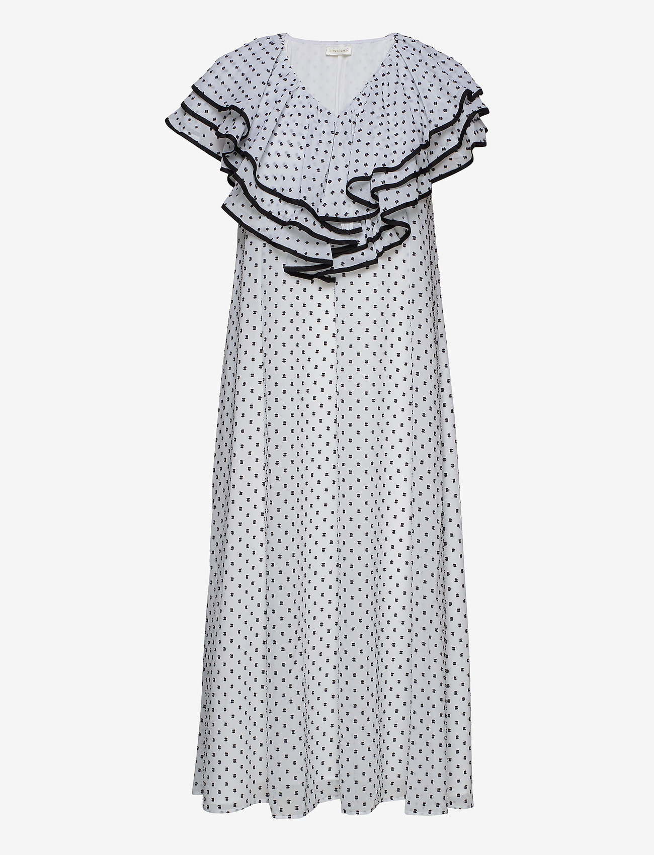 STINE GOYA - Claire, 845 Chiffon Mix - midi kjoler - dots black - 0