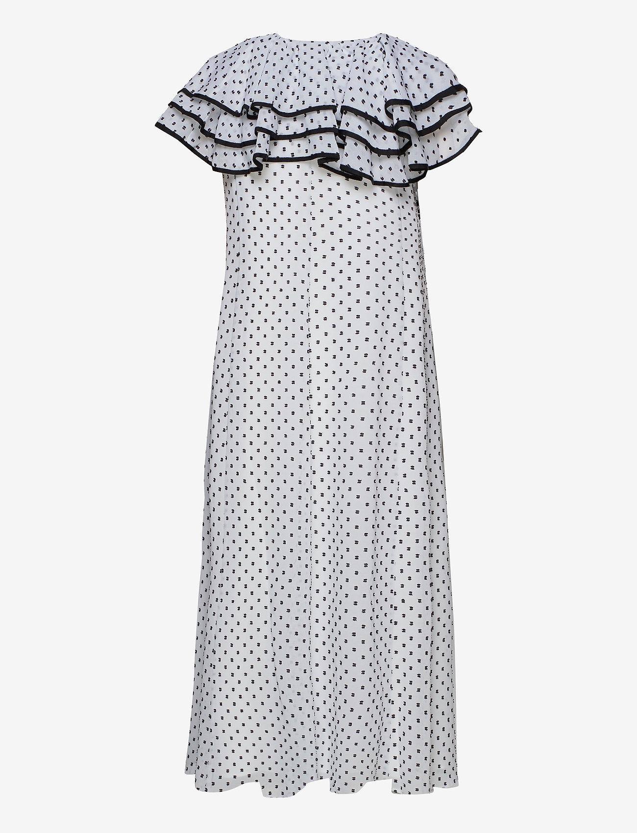 STINE GOYA - Claire, 845 Chiffon Mix - midi kjoler - dots black - 1