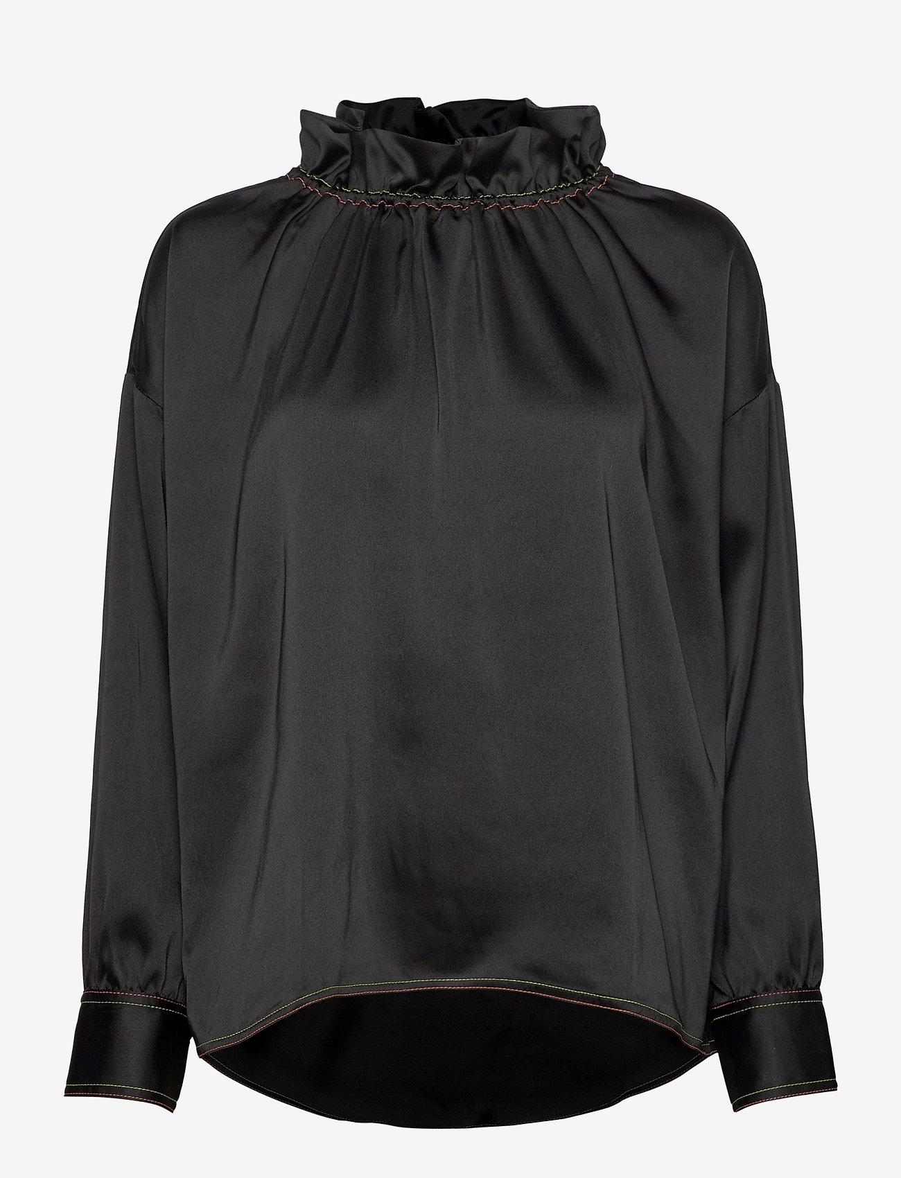 STINE GOYA - Ines, 921 Solid Sheen Cady - langærmede bluser - black - 1