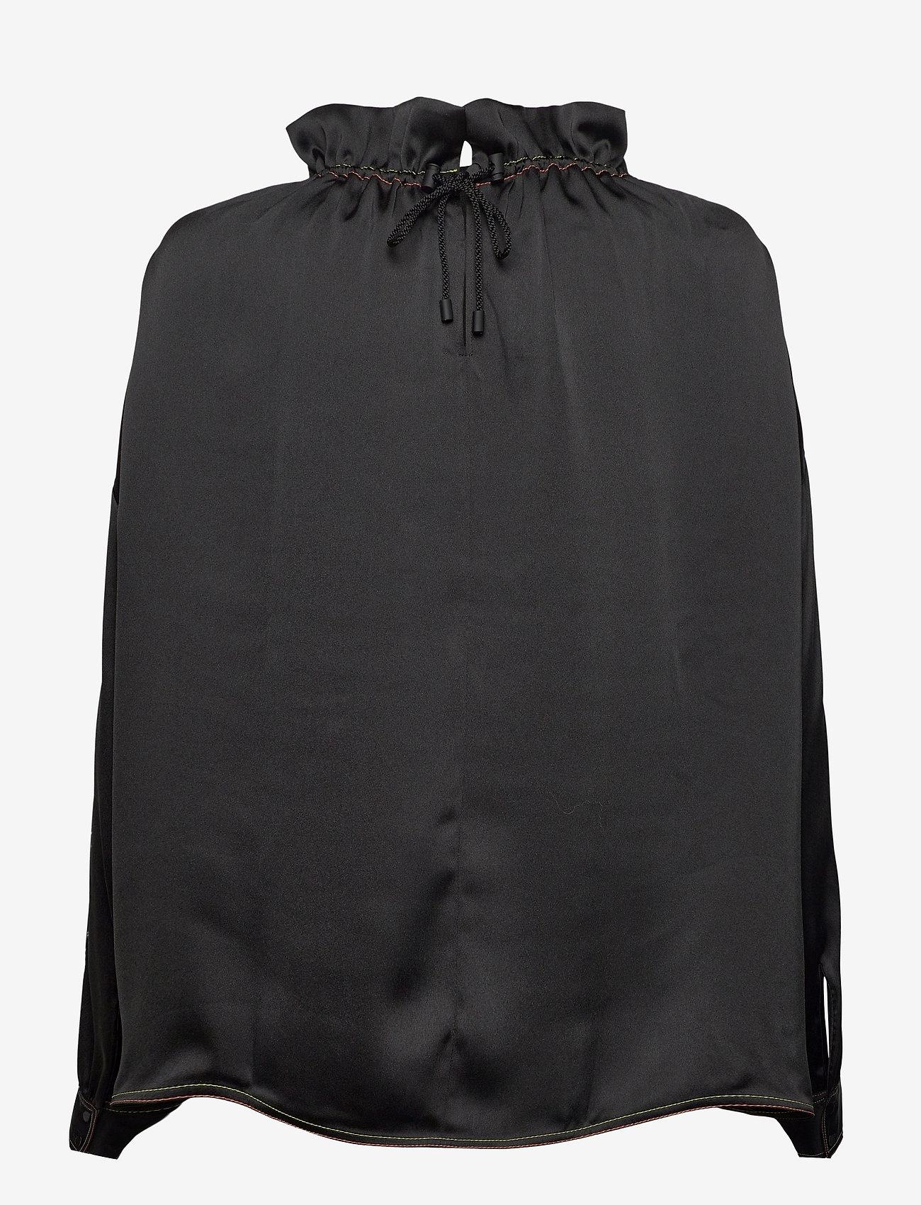 STINE GOYA - Ines, 921 Solid Sheen Cady - langærmede bluser - black - 2