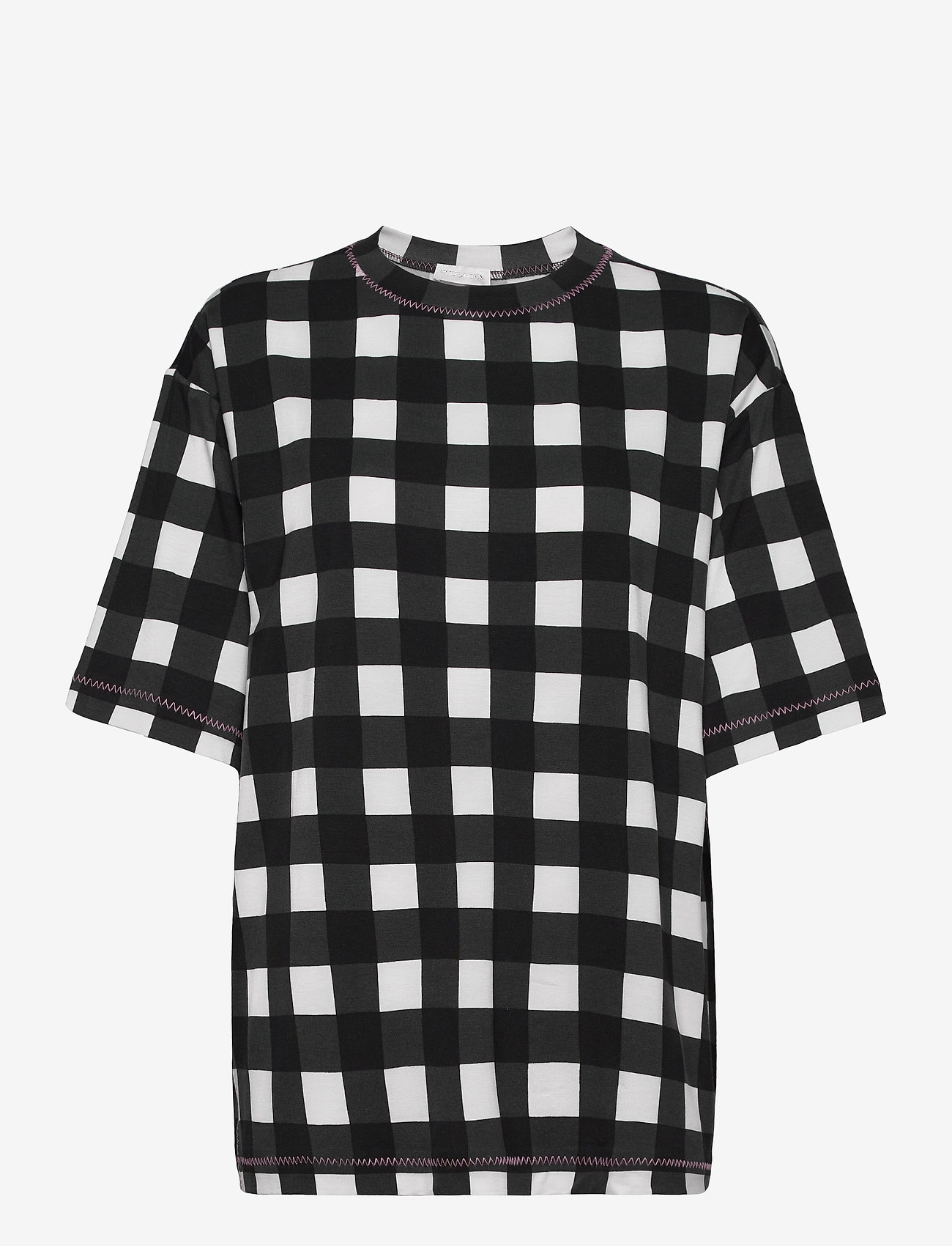 STINE GOYA - Boris, 1003 Drapy Jersey - t-shirts - gingham black - 1