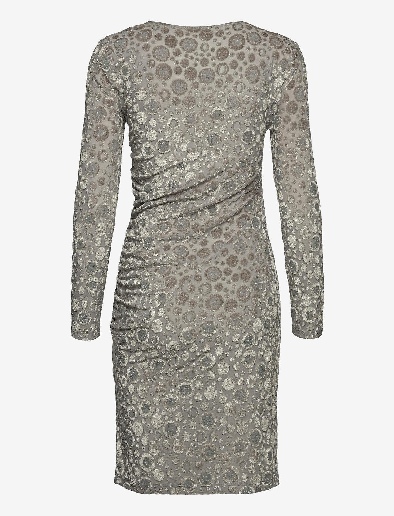 STINE GOYA - Moa, 1087 Velvet Devoré - stramme kjoler - dots silver - 2