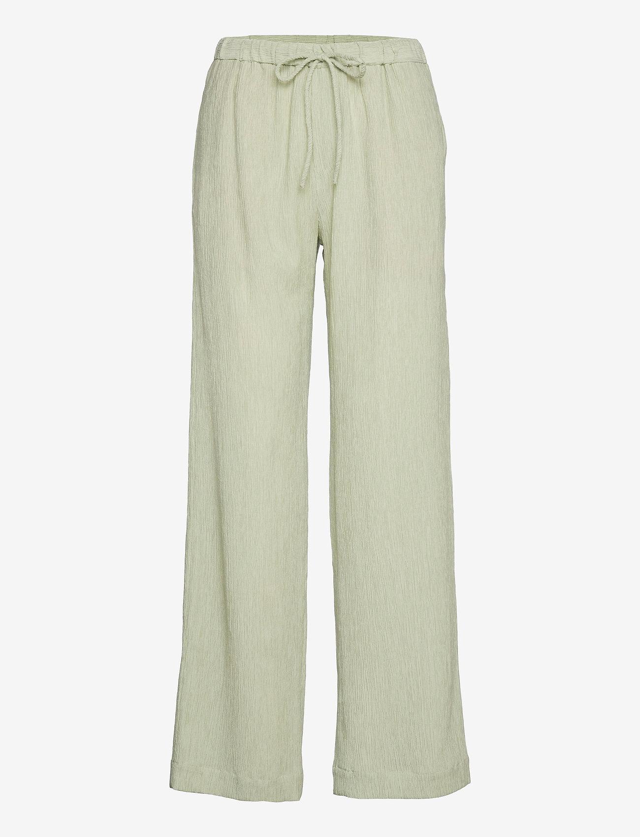 STINE GOYA - Gulcan, 1143 Crinkled Tencel - bukser med brede ben - sage - 1