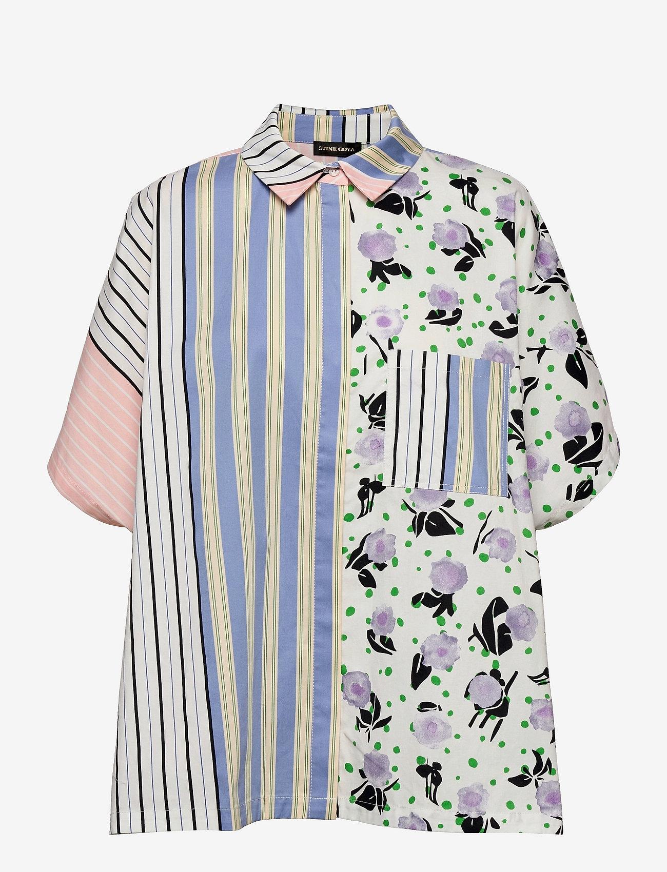 STINE GOYA - Luna, 1172 Printed Cotton - langærmede bluser - flowermarket stripes - 1