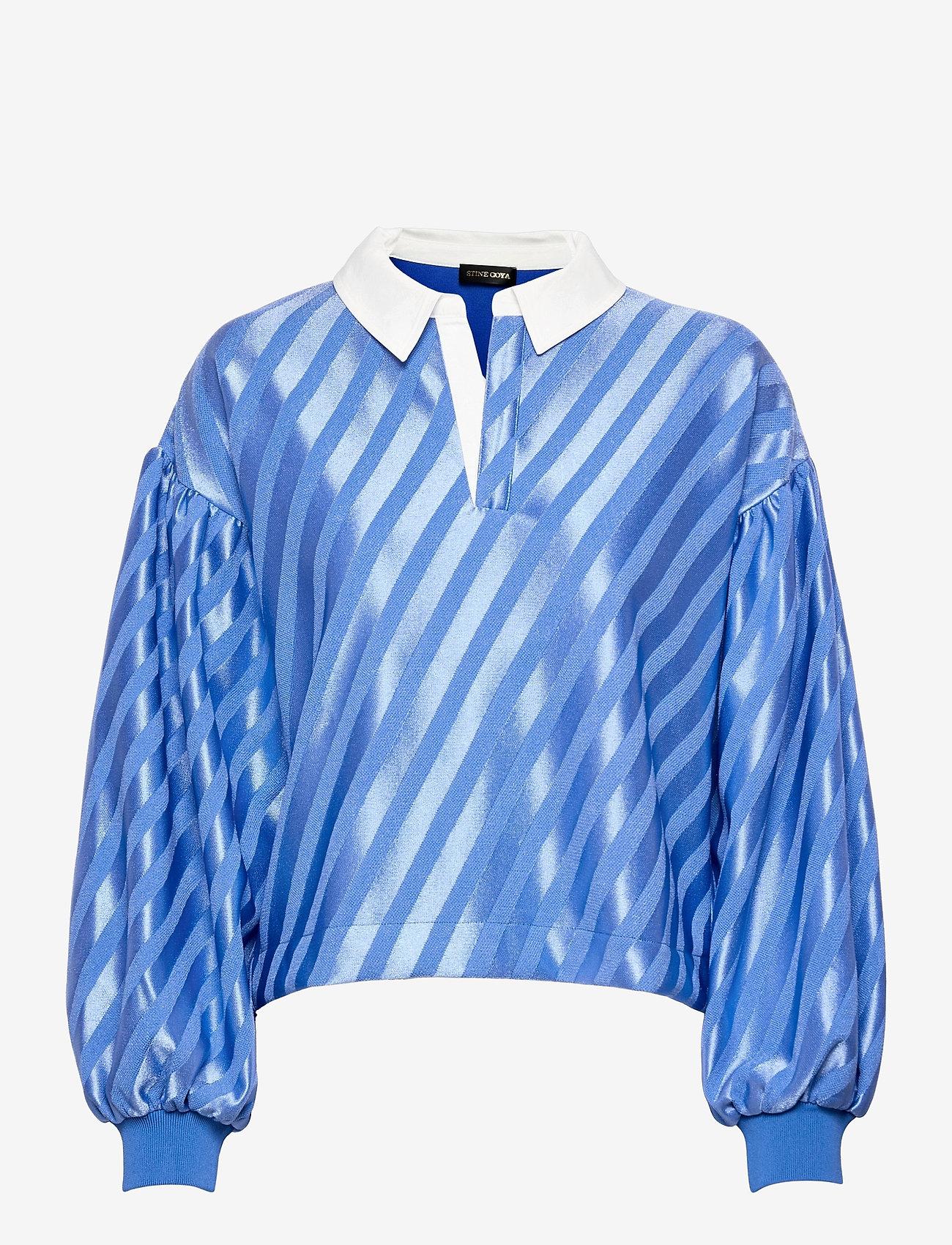 STINE GOYA - Yousef, 1160 Stripe Jersey - langærmede bluser - stripes blue - 0