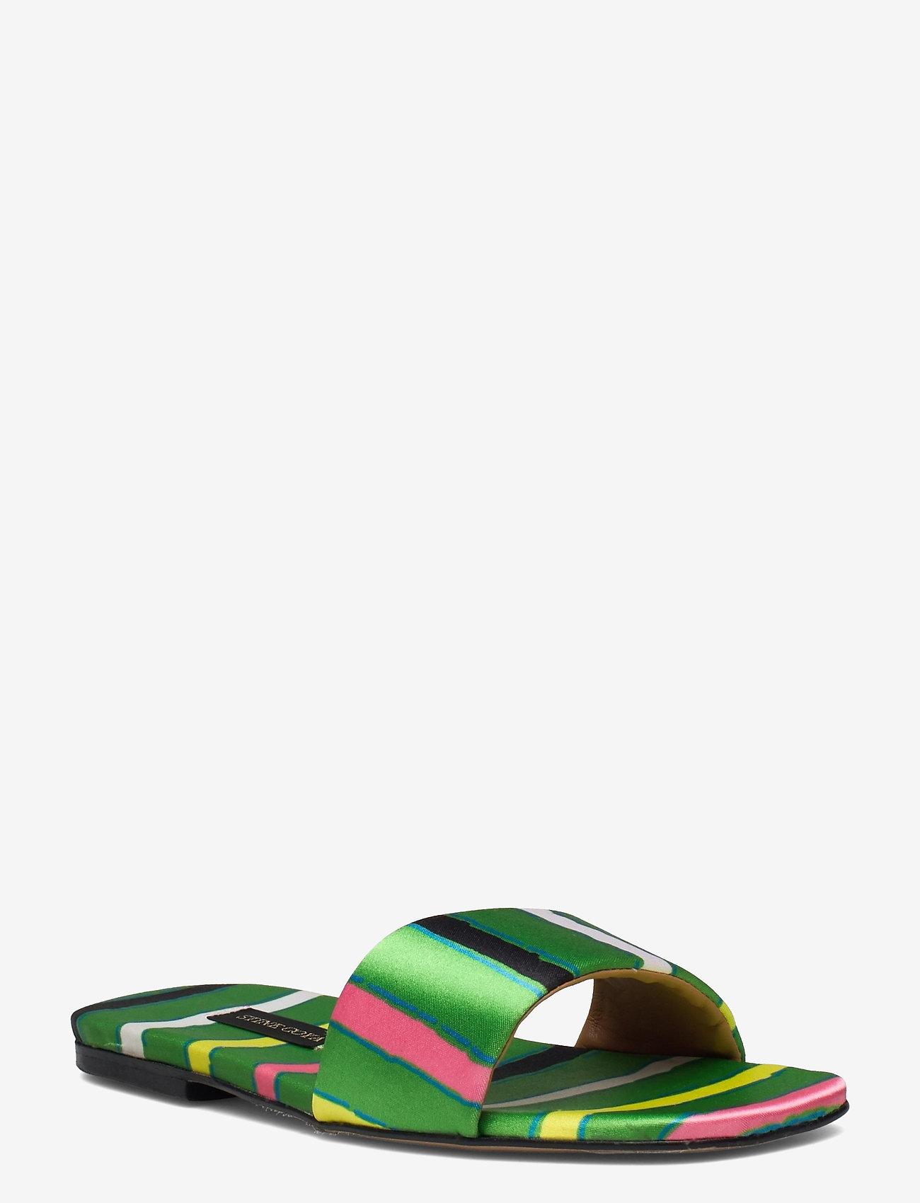 STINE GOYA - Henra, 1193 Satin Shoes - flade sandaler - stripes green - 0