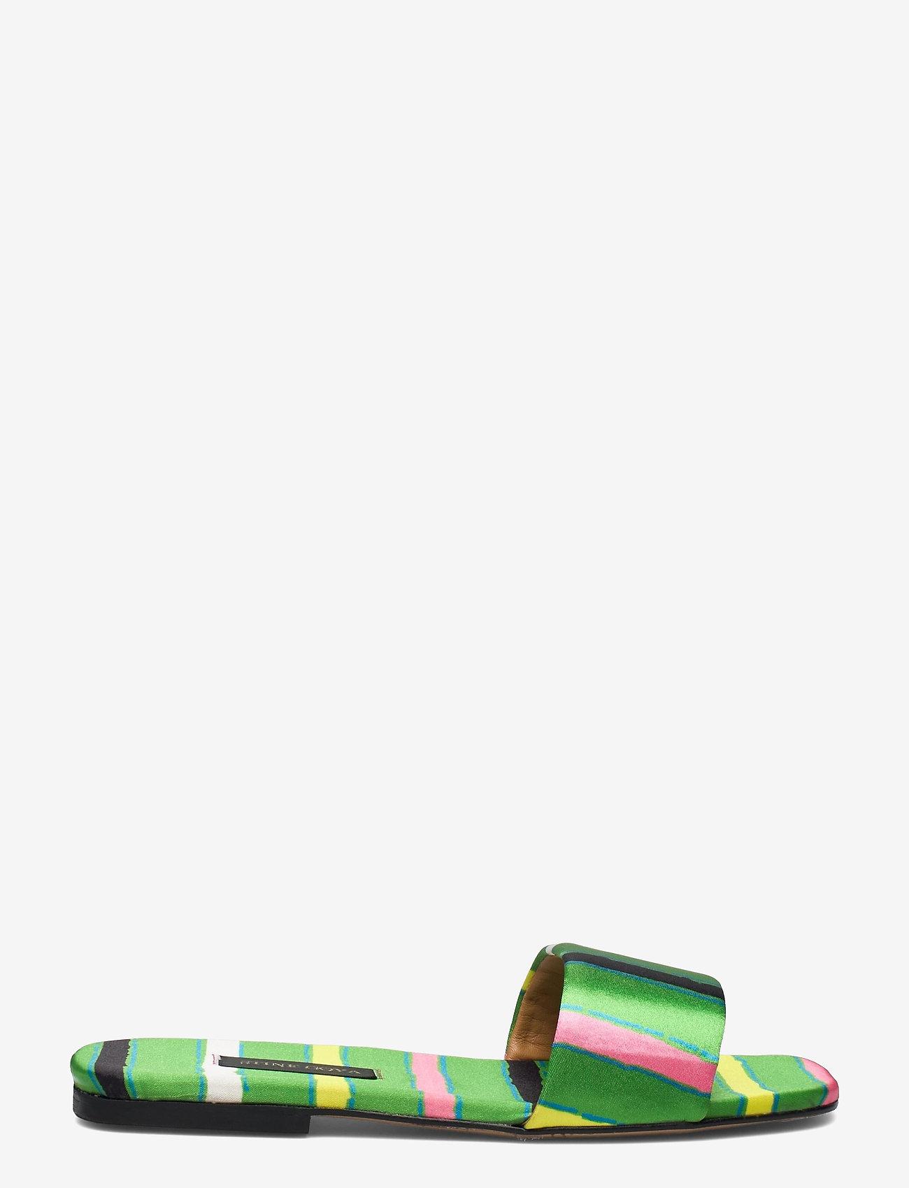 STINE GOYA - Henra, 1193 Satin Shoes - flade sandaler - stripes green - 1