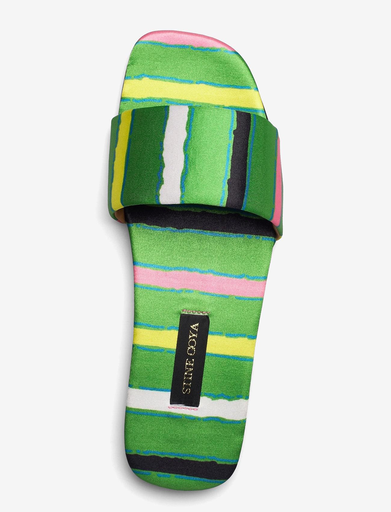 STINE GOYA - Henra, 1193 Satin Shoes - flade sandaler - stripes green - 3