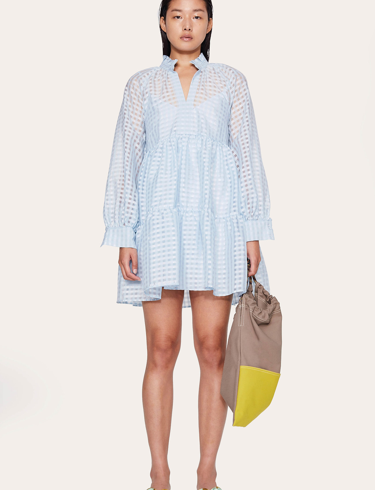 STINE GOYA - Jasmine, 864 Gingham Poly - korta klänningar - ice - 0