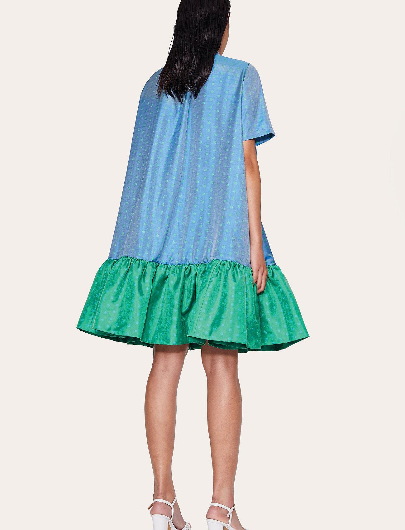 STINE GOYA - Wendy, 870 Green Blue Dots - midiklänningar - blue green - 3