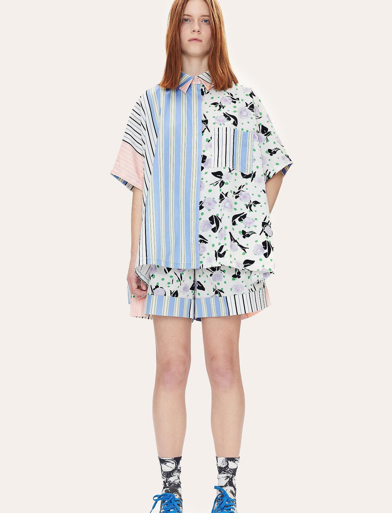 STINE GOYA - Luna, 1172 Printed Cotton - langærmede bluser - flowermarket stripes - 0