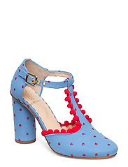 Marta, 405 Pompom Shoes - BLUE DOTS