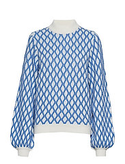 Carlo, 652 Contrast Cable Knit - BLUE