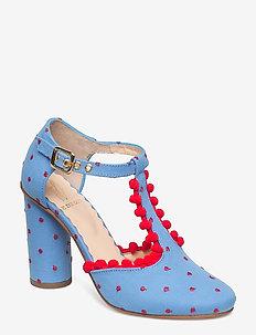 Marta, 405 Pompom Shoes - BLUE DOTS