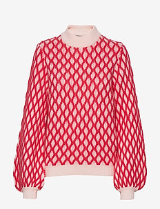 Carlo, 652 Contrast Cable Knit - RED