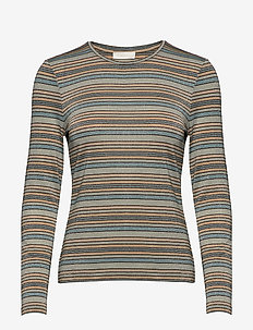 Maya, 688 Glitter Jersey - stribede t-shirts - stripes blue