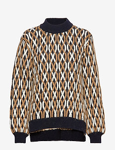 Anders, 726 Cable Knitwear - trøjer - blue