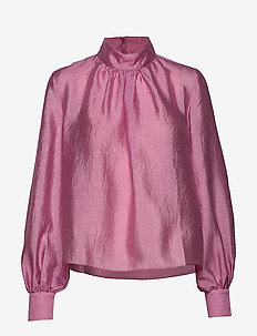 Eddy, 784 Textured Poly - blouses med lange mouwen - pink