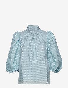 Birgitte, 864 Gingham Poly - bluzki z długimi rękawami - ice