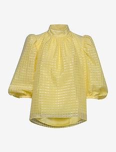 Birgitte, 864 Gingham Poly - långärmade blusar - marigold