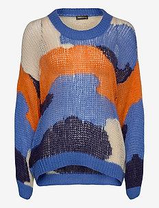 Sana, 879 Camouflage Knit - tröjor - camouflage blue