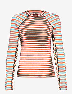 Samara 909, Rib T-shirt - langærmede toppe - stripe coral