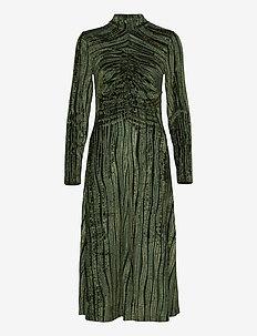 Asher, 910 Velvet Devoré - midi kjoler - wave seaweed