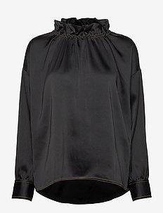 Ines, 921 Solid Sheen Cady - langærmede bluser - black