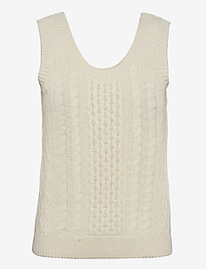 Lucas, 967 Cable Solid Knit - strikveste - off white