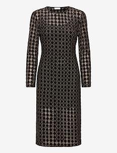 Jill, 1030 Jersey Lurex Burnout - midi kjoler - diamond cedar