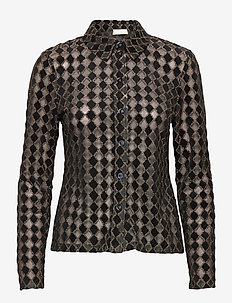 Nevena, 1030 Jersey Lurex Burnout - langermede skjorter - diamond cedar