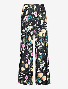 Lolle, 1037 Floral Poly - wide leg trousers - poppy
