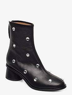 Allison, 1077 Black Crystal Boots - heeled ankle boots - crystals
