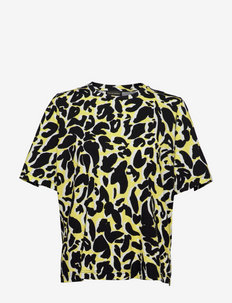 Leonie, 1238 Allover Tee - kortermede bluser - abstract soft yellow