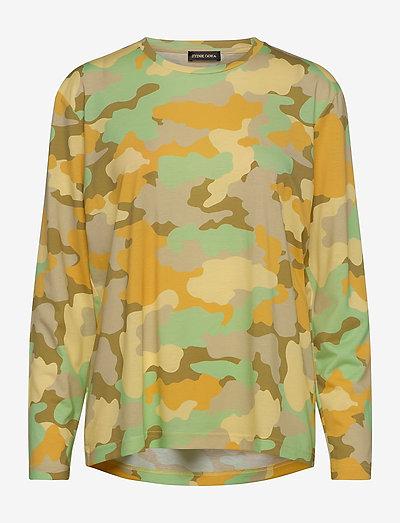 Caleb, 840 Allover Tee - tops met lange mouwen - camouflage green