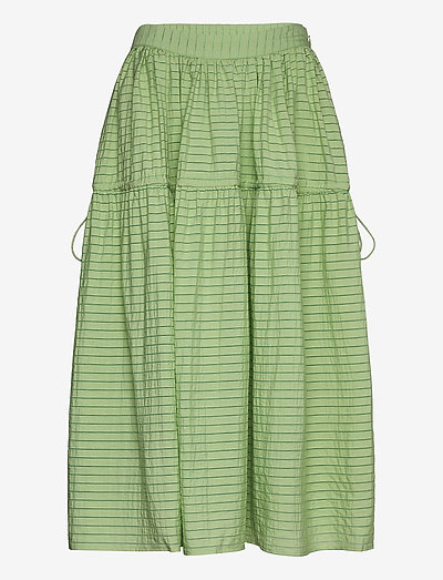 Maura, 855 Striped Rayon - midinederdele - sage