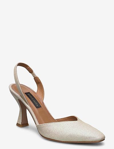 Agatha, 884 Glitter Shoes - sling backs - champagne