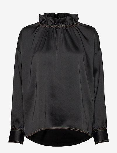 Ines, 921 Solid Sheen Cady - långärmade blusar - black