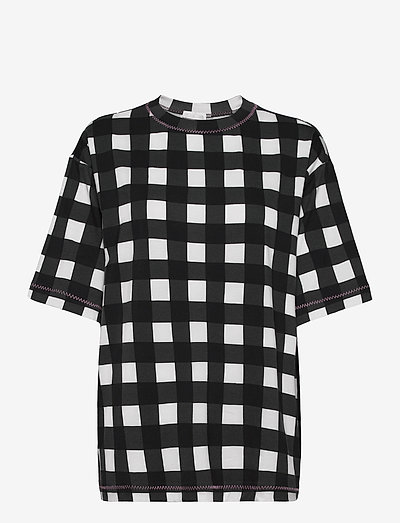 Boris, 1003 Drapy Jersey - t-shirts - gingham black
