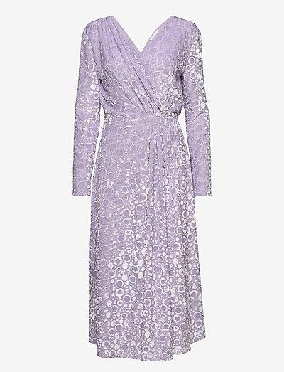 Lola, 1087 Velvet Devoré - midiklänningar - dots lilac