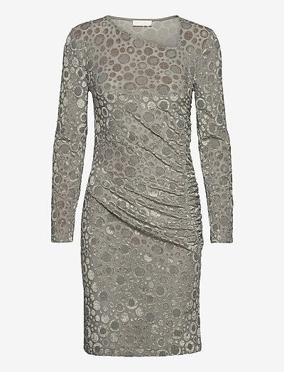 Moa, 1087 Velvet Devoré - stramme kjoler - dots silver